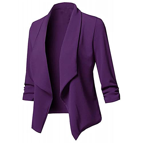 LIEIKIC Cárdigan - Blazer de verano para mujer, elegante, manga larga, de punto, para otoño, morado, 46