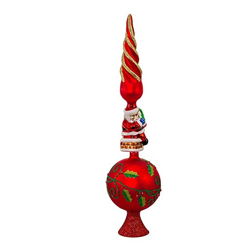 Kurt Adler Glass Santa Claus Design Treetop, 16-Inch
