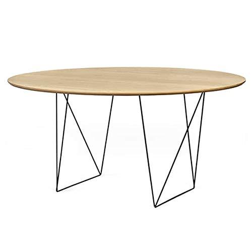 mds Tables Rondes Row, élégantes et Modernes. TEMAHOME - Row 150 cm, Chêne (placage), piétement Acier Noir
