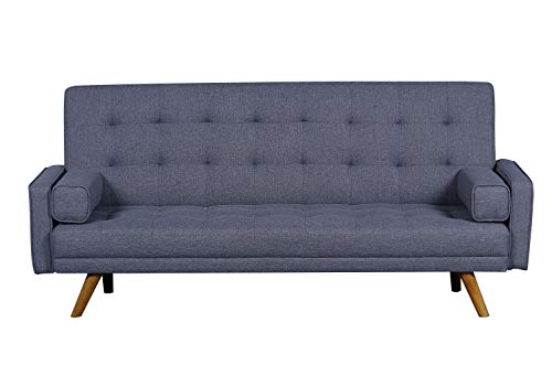Pulaski Mid-Century Biscuit Tufted Click Sleeper Sofa with Bolster Pillows, 81.5' x 32.0' x 36.0', Blue Grey
