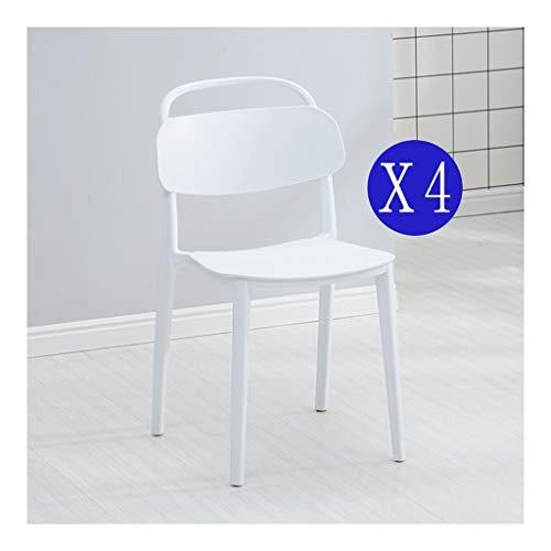CHQYY Sillas- 4 juegos de sillas de plástico de comedor, sillas de plástico apiladas, sillas apilables de ocio, sillas de jardín al aire libre del café de oficina (Color : Blanco)
