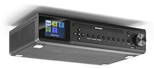 Karcher RA 2060D-B Unterbauradio mit CD-Player, DAB+ / UKW-Radio (je 30 Senderspeicher), USB zur MP3-Wiedergaber & Bluetooth - Wecker (Dual-Alarm) / Countdown-Timer - Fernbedienung