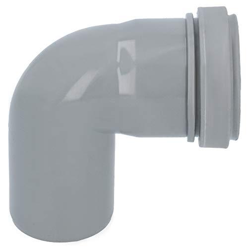 HT Rohr Bogen Grau Ø DN 50 mm 90 Grad   Abwasser Winkel Kunststoff Abflussrohr Kunststoffbogen PVC PP Doppelabzweig Verbindung Anschlussstück