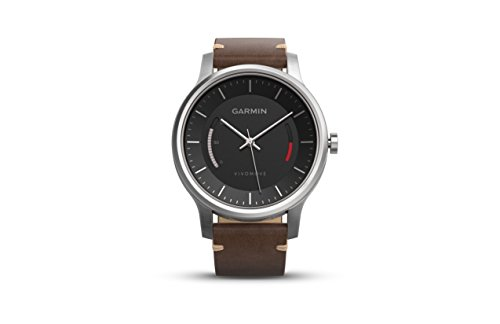 Garmin Vivomove Premium Activity Tracker, Stainless Steel with Leather Band