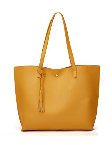 Women's Soft Faux Leather Tote Shoulder Bag from Dreubea, Big Capacity Tassel Handbag Mango New