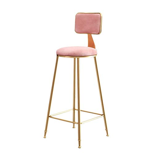MUzoo Silla Bar Taburetes Retro Bar Taburetes Cocina Bar Taburetes con Respaldo Restaurante Salón Silla Silla Simple Silla de Bar High Het (Color : Pink, Size : Large)