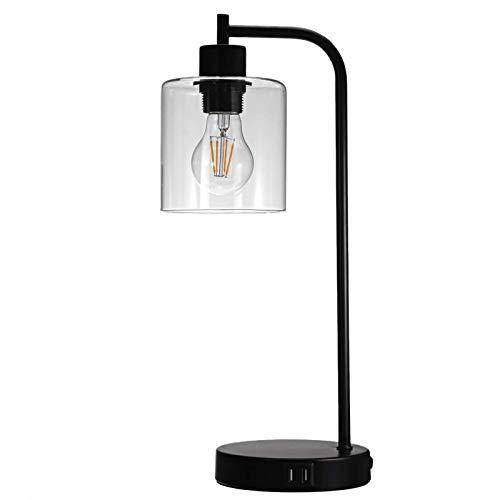 AOWU Lámpara de mesa moderna lámpara de mesa industrial para mesita de noche