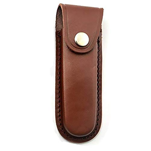 Aibote Folding Blade Knife Sheath Hunting Holster Carrying Leather Holder Sheaths Scabbard Pouch Bag For Swiss Army Knife Tactical Foldable Knives (Brown)