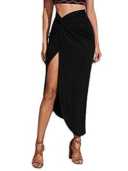 SheIn Women s Boho Twist Side Asymmetrical Hem Split Thigh Solid Long Skirt Black# Small