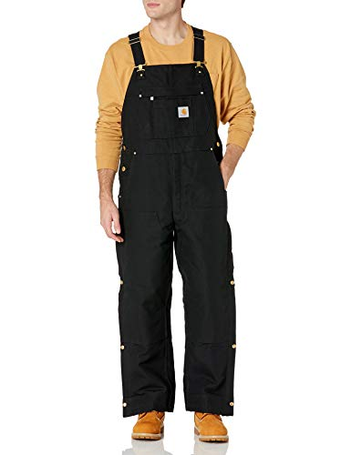Carhartt Men's Loose Fit Firm Duck Insulated Bib Overall, Black, Large