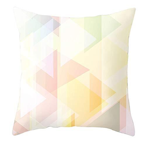 KnBoB Funda de Cojin Patrón de Triángulo Cuadrado Amarillo Verde Rosa 40 x 40 cm Poliéster Estilo 2