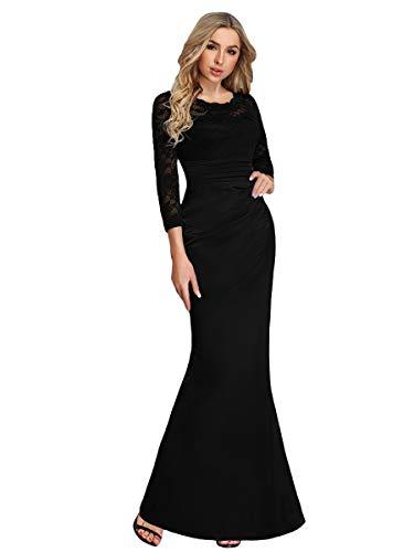 Ever-Pretty Vestito da Cerimonia Donna Pizzo Girocollo Manica Lunga Sirena Stile Impero Nero 44