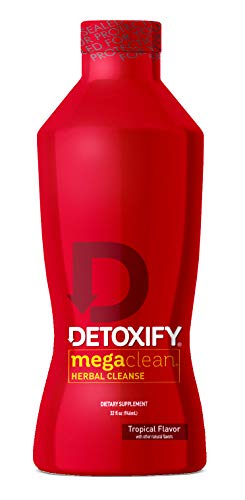 Detoxify Mega Clean Herbal Cleanse – Tropical Flavor – 32 oz – Professionally Formulated Herbal Detox Drink – Enhanced with Milk Thistle Extract, Ginseng Root Extract & Guarana Seed Extract