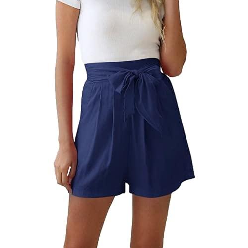 Pantalones Cortos para Mujer Cintura Alta Ligero Commuter Trabajo de Oficina Suave cómodo Doblado Doblado Volante Pajarita Color sólido L