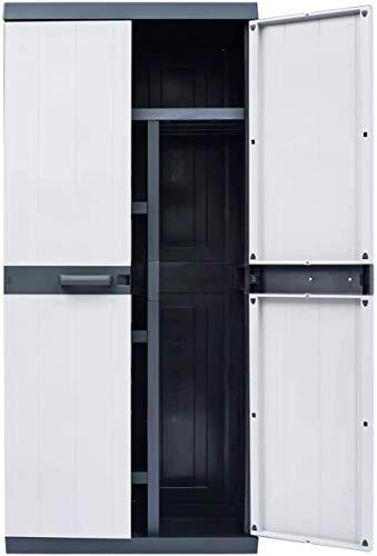 Caja de Almacenamiento de Jardín, Gabinete de almacenamiento de jardín, con 4 estantes ajustables, organizador de casillero vertical...