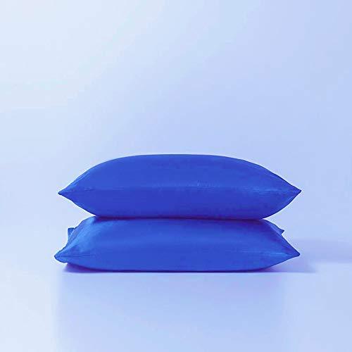 juwenin Mikrofaser-Kissenbezüge, 50 x 75 cm, seidig-weich, antistatisch, milbenabweisend, Blau, 2 Packungen