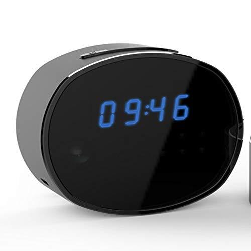NOBLJX WiFi Cámaras espías Cámara de visión Nocturna Oculta LED Reloj Despertador Cámara inalámbrica de niñera USB Recargable Red HD WiFi Cámara de vigilancia remota con Tarjeta TF