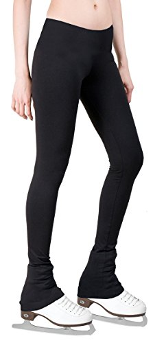 Figure Skating Pants with 2-Tones Waistband (Black, Adult Small)