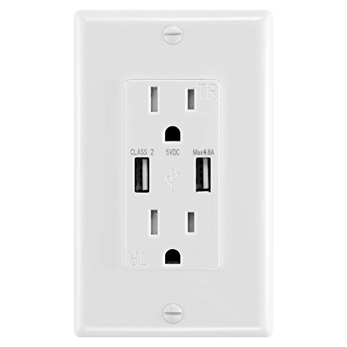 ANTEER 4.8A USB Wall Outlet Fast Charge - Dual High-Speed Charger Electrical Outlets - ETL Listed Duplex 15A Tamper Resistant Socket USB Outlets Receptacle(White,1-Pack/Wall Plate)