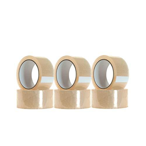 [6 Pack] Cinta de embalar/cinta adhesivas - Cinta adhesiva de embalar varios colores y tamaños (48mm x 40m, Transparente)