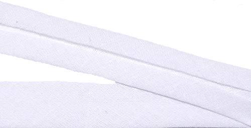 15 m Baumwollschrägband weiß 20 mm vorgefalzt 0,66 €/m