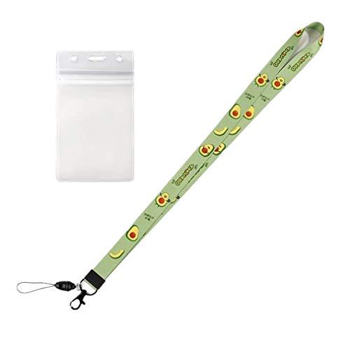 RuiChy 1 Uds cordón para el cuello con soporte transparente para tarjeta de identificación para exposiciones de oficina, correa para el cuello con estampado de aguacate para llaves de teléfono