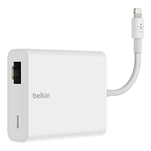 Belkin Ethernet + Power Adapter with Lightning Connector (Mfi-Certified Lightning to Ethernet Adapter for iPad POS Systems) (B2B165bt)