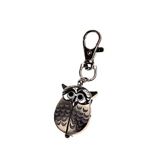 tJexePYK Reloj Pendiente del patrón Muchachas de los Muchachos del Reloj de Bolsillo análogo búho Forma del Estilo del Reloj Noche Retro Owl