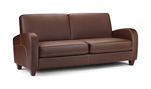 Julian Bowen Vivo 3 Seater Sofa, Brown Faux Leather