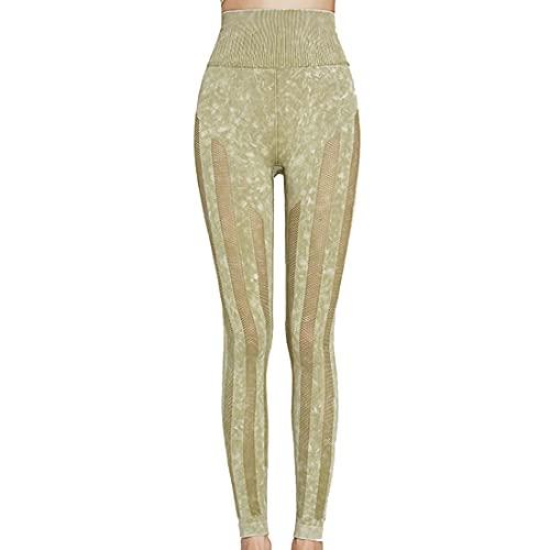 PPPPA Pantalones de yoga para adelgazar delgados huecos impresos estampados para mujer Leggings deportivos de cintura alta para mujer Pantalones deportivos de entrenamiento de cintura alta para mujer