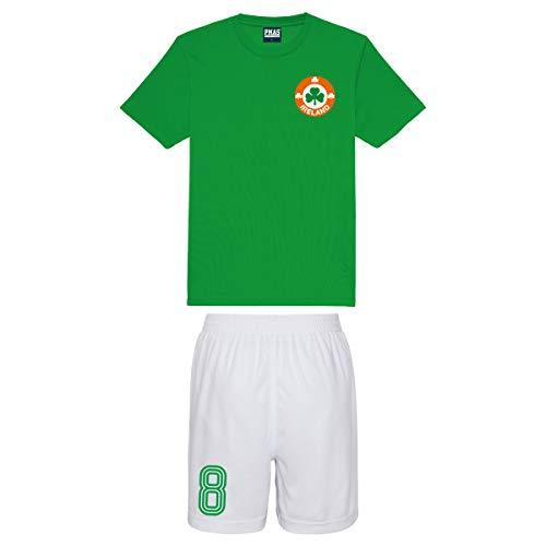 Print Me A Shirt Conjunto de Fútbol del Equipo de Irlanda Personalizable para Niños, Camiseta Verde y Pantalones Cortos Blancos, Conjunto de Fútbol Selección Irlandesa
