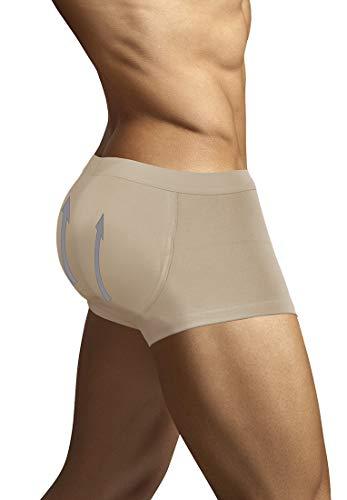 ARIUS Calzoncillo Boxer con Relleno Trasero Color Beige para Aumentar el Volumen y tamaño de glúteos y Levanta - Push up y Relleno de Nalgas - Men's Padded Buttocks - Men's Shapewear (S)