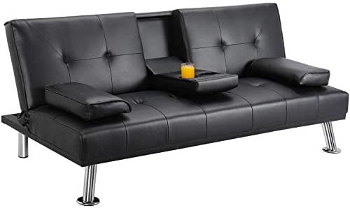 Best YAHEETECH Leather Futon Couch Futon Sofa Bed Modern Faux Leather Couch Convertible Sofa Bed with Arm