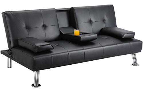 Yaheetech Leather Futon Couch Futon Sofa Bed Modern Faux Leather Couch Convertible Sofa Bed with Armrest Fold Up and Down Futon Sets with Cup Holders Black