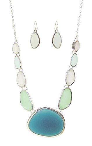 """Teal Sea Foam Green Pale Blue White Stone Shaped Frosted Glass Silvertone Bib Necklace 18"""" w/ Earrings"""