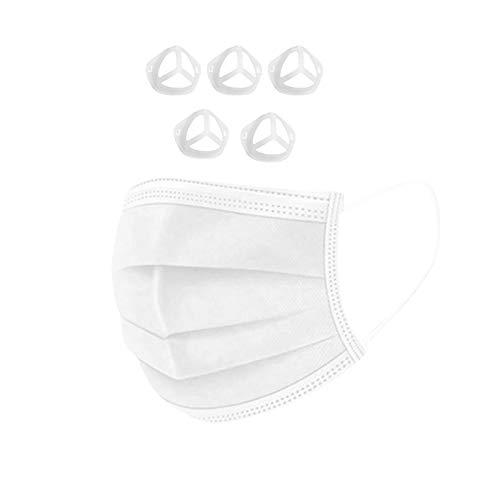 50 Stück Mundschutz Erwachsene Einweg Mund_und_Nasenschutz Staubschutz Gesichtsschutz Halstuch mit 5 Stück 3D-Silikon-Halterung, Stützrahmen,Innenkissen, Nasenpolster für Mund_und_Nase (Weiß)