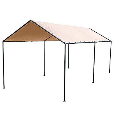 Abba Patio 10 x 20-Feet Light Portable Canopy with 6 Steel Legs, Beige & Brown