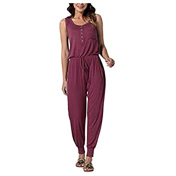 Maryia Women Summer Casual Elastic Waist Jumpsuit Loose Solid Off Shoulder Button Down Crewneck Rompers with Pockets Wine