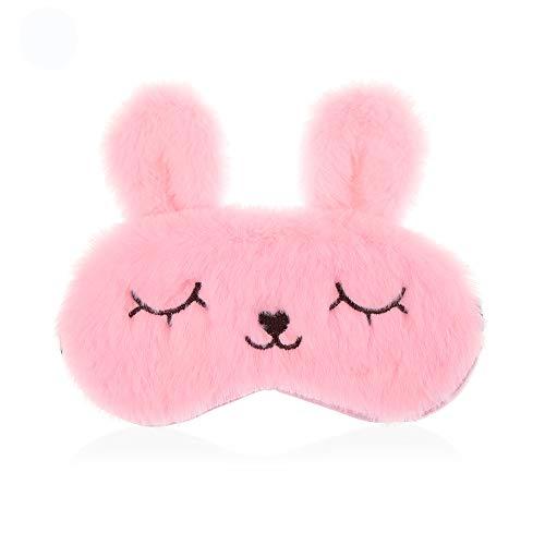 Schlafmasken mit Kaninchenohren, Augenmaske, Plüsch, flauschig und weich gepolstert, für Kinder, Mädchen, Damen, 1 Stück