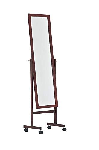 CLP Holz-Standspiegel Yolanda mit Laufrollen I Schlichter Garderobenspiegel aus lackiertem Holz I erhältlich, Farbe:Kirsch