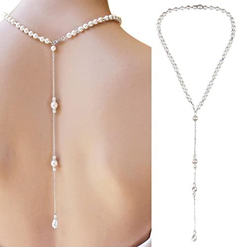 QIN Collares de telón de Fondo de Perlas simuladas, joyería de Cadena Trasera para Mujeres, Accesorios de Vestido sin Espalda para Fiesta y Boda