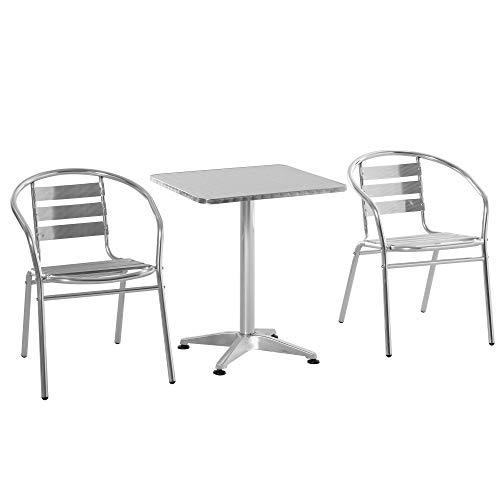 Outsunny Ensemble Bistro de Jardin 3 pièces Style néo-rétro Table carrée et 2 chaises empilables Aluminium
