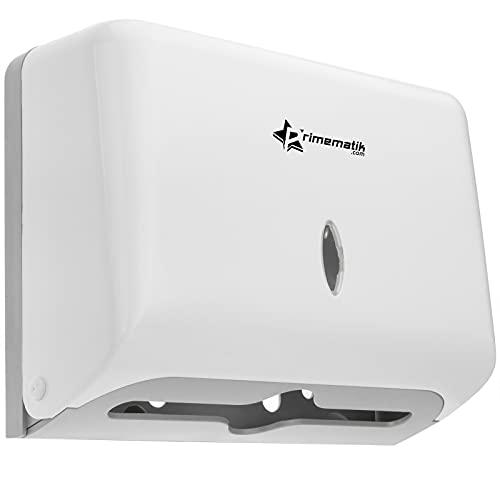 PrimeMatik - Papiertuchspender für hygienische Einzeltuchentnahme. Toilettenpapierhalter Handtuchspender in Weiss 268x103x204mm