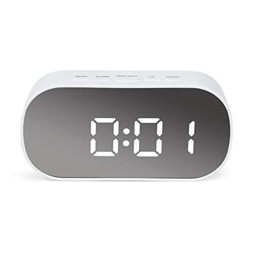 LKU Wekker LED spiegel wekker digitale horloge klok nachtlampje met thermostaat elektronische huisdecoratie