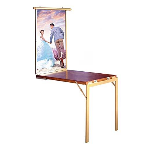 WILK tafel, uittrekbaar, wandbevestiging, geïntegreerd bureau, van hout, met fotolijst, compacte tafel, voor desktop-PC, wand, compact, goudkleurig