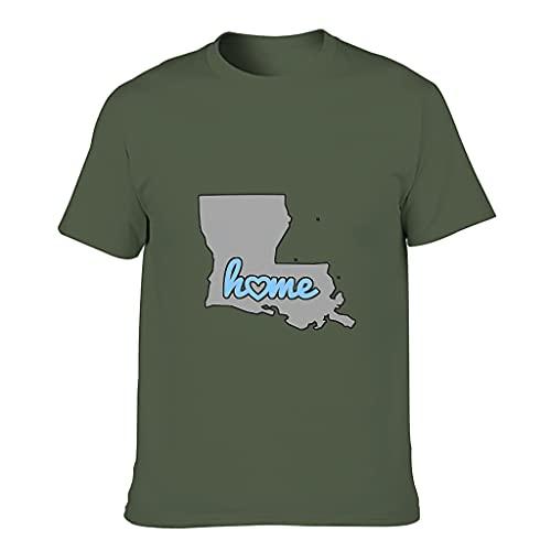 Camiseta de algodón para hombre, diseño de mapa de Louisiana State Colorido, ultra suave, de EE. UU