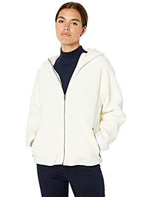 Amazon Brand - Daily Ritual Women's Teddy Bear Fleece Hooded Zip Jacket, Ivory, Medium