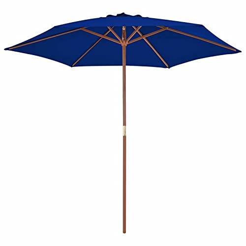 Tidyard Sombrilla de Jardín con Palo de Madera Parasol Protección Solar Anti-Decoloración Exterior Patio Piscina Jardín Terraza Marquesina Refugio Azul 270 cm