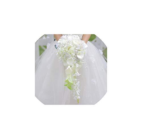 Künstliche Blumen Wasserfall-Hochzeit Bouquets mit Kristallbraut Brosche Sträuße Braut-Blumenstrauß, als das Bild