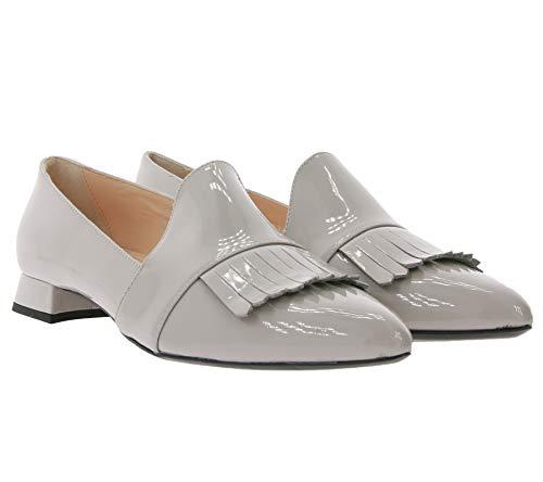 AGL Attilio Giusti Leombruni Echtleder-Mokkassins stylische Damen Slipper Made in Italy Ballerina Loafer Grau, Größe:40